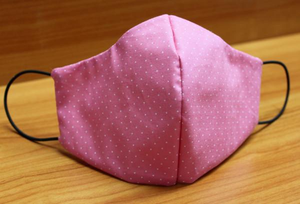 Behelfs-Mund-Nasen-Maske, rosa mit weißen Tupfen