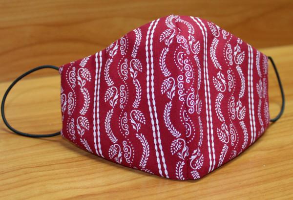 Behelfs-Mund-Nasen-Maske, rot mit weißen Ranken