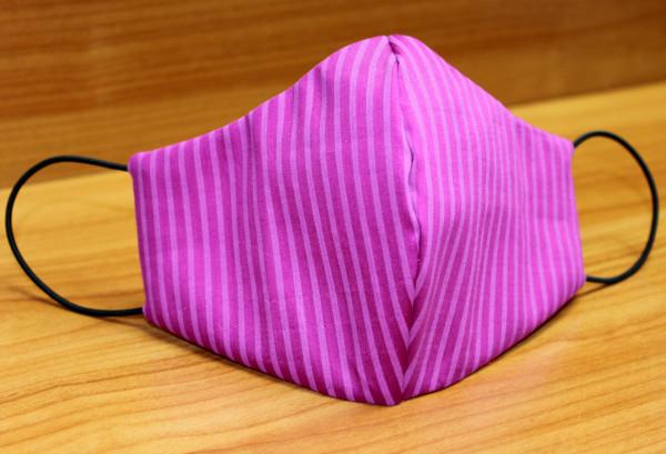 Behelfs-Mund-Nasen-Maske, beere-pink gestreift
