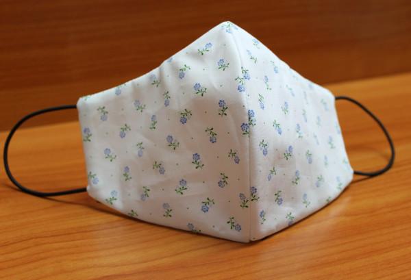 Behelfs-Mund-Nasen-Maske, weiß mit Blümchen