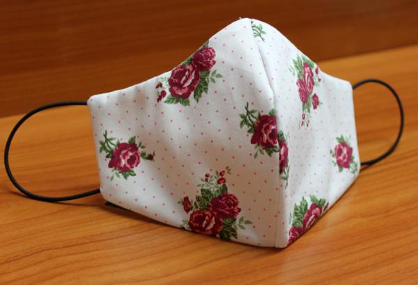 Behelfs-Mund-Nasen-Maske, weiß mit Rosenmuster