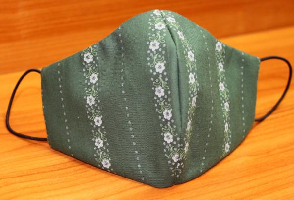 Behelfs-Mund-Nasen-Maske, oliv-grau-geblümt