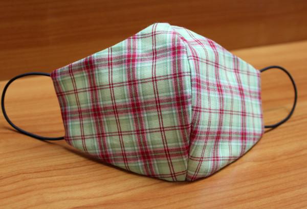 Behelfs-Mund-Nasen-Maske, grün-rot kariert